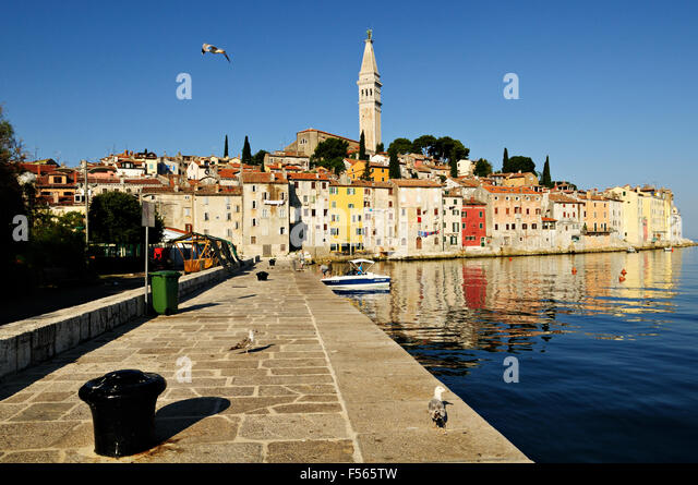 Old Town of Rovinj with bell tower of Saint Euphemia?s basilica, Istria, Croatia - Stock-Bilder