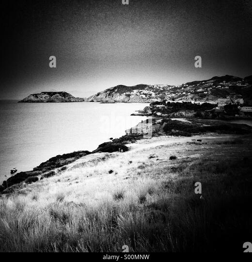 Agia Pelagia village, Crete Island, Greece. B&W processing. - Stock Image
