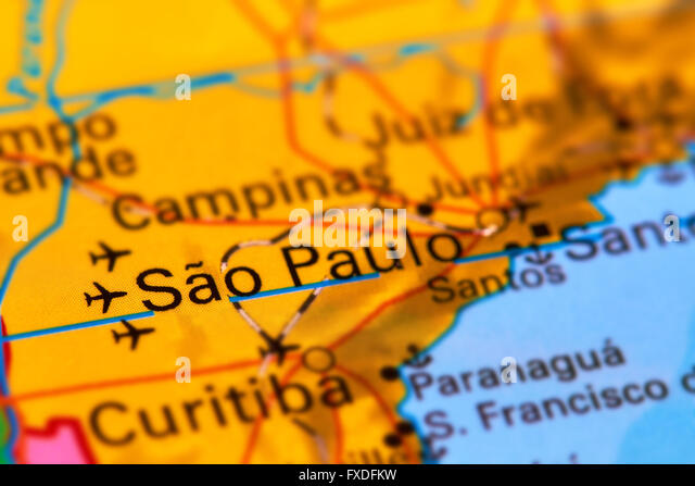 Sao Paulo, City in Brazil on the World Map - Stock Image