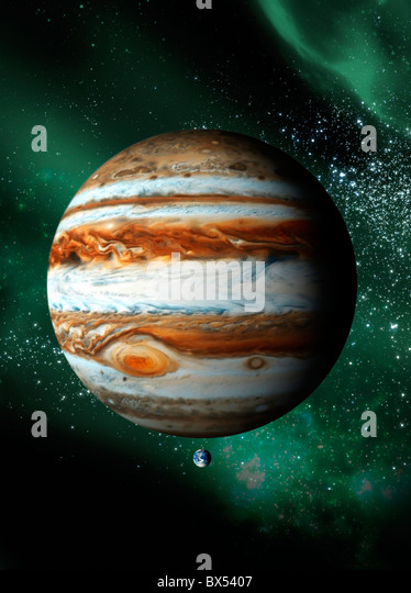Jupiter and Earth, artwork - Stock Image