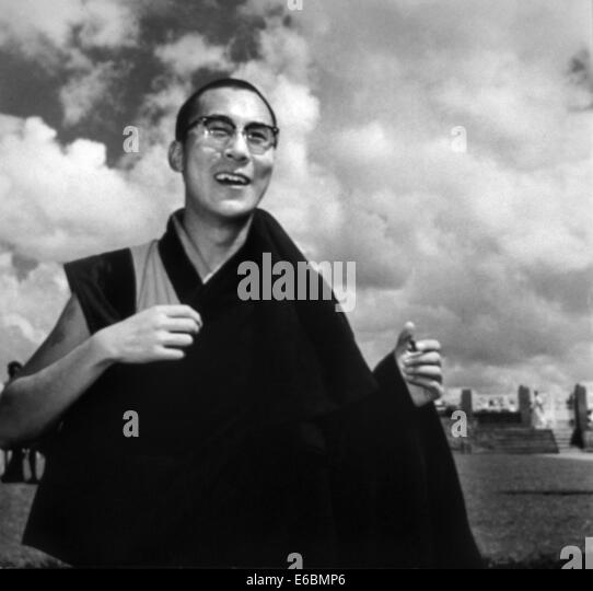 An old picture of the dalai lama - Stock Image