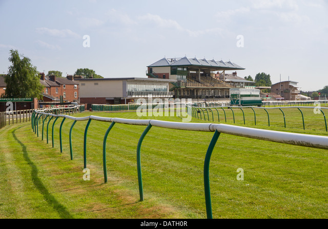 Warwick Race Course with the Grandstand in the background - Stock Image