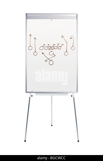 Whiteboard with football play isolated on white - Stock Image