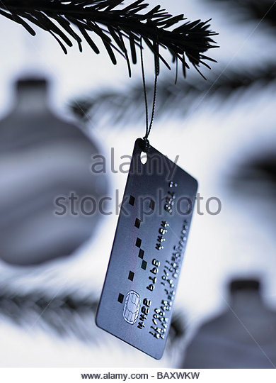 Close up of credit card Christmas ornament on tree - Stock-Bilder