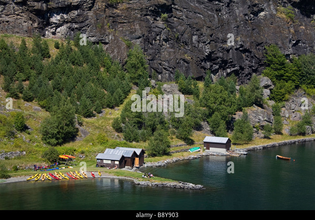 High angle view of canoe rental centers at a fjord, Flamsdalen Valley, Flam, Aurlandsfjord, Sogn Og Fjordane, Norway - Stock Image