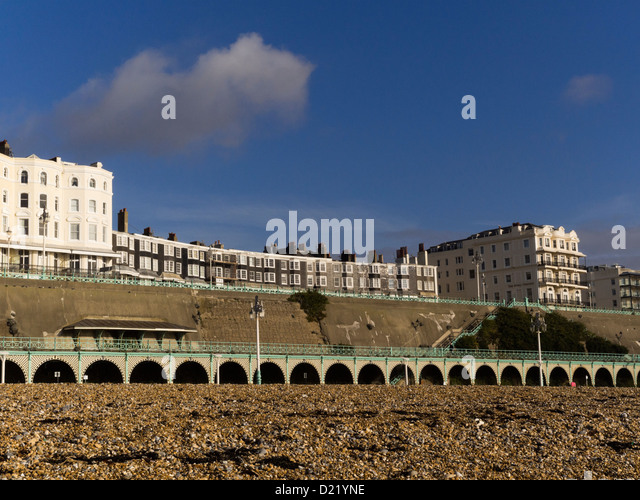 Royal Crescent and Marine Parade, Brighton, as seen from Brighton beach, East Sussex, England, UK - Stock Image