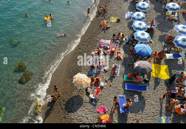 Italy, Campania, Amalfi Coast, listed as World Heritage by UNESCO, Amalfi, the beach - Stock Image