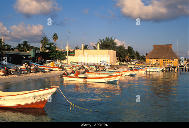 Mexico Isla Mujeres fishing boats at twilight yucatan - Stock Image