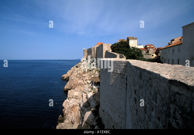 Dubrovnik Croatia Old Town Walled City Wall running along ocean - Stock Image