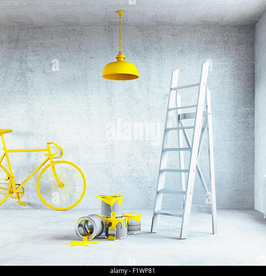 white interior with painted ceiling lamp.3d concept - Stock Image