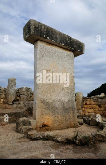 Taula, prehistoric site of Torralba d'en Salort, Menorca, Balearic Islands, Spain, Europe - Stock Image