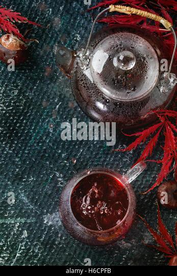 Autumn red hibiscus tea - Stock Image