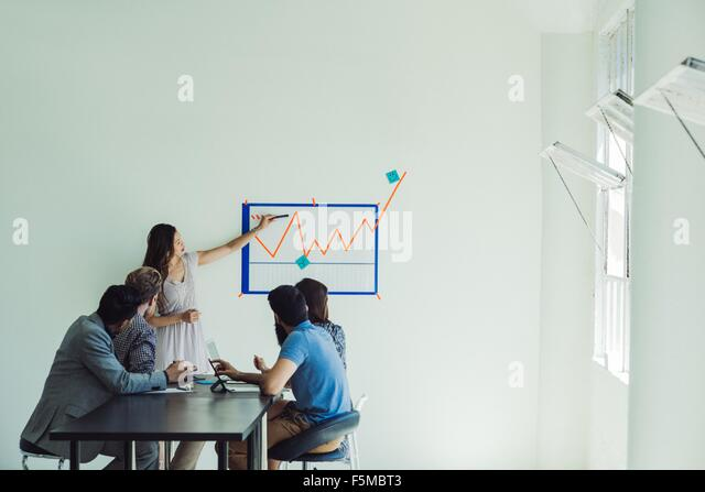 Business people in brainstorming meeting - Stock Image