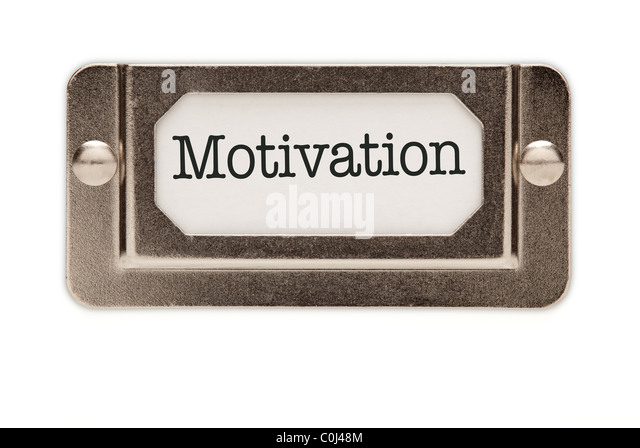Motivation File Drawer Label Isolated on a White Background. - Stock Image