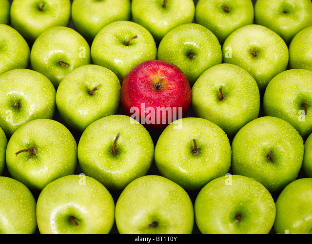 red apple standing out from bunch of green apples - Stock Image