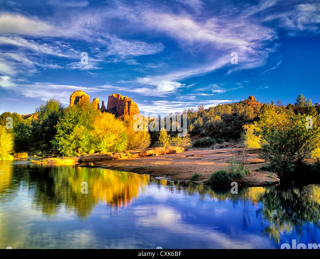 Cathedral Rock reflected in Oak Creek, Arizona - Stock Image