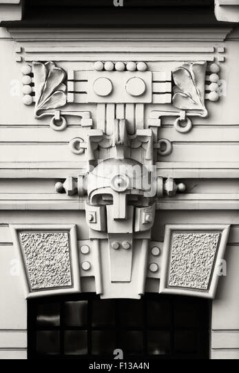 Latvia. The famous ancient bas-relief on the facade of the house on Alberta Street in Riga... - Stock Image