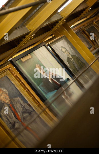 Paintings of welsh personalities in the archive stacks of the National Library of wales Aberystwyth UK - Stock-Bilder