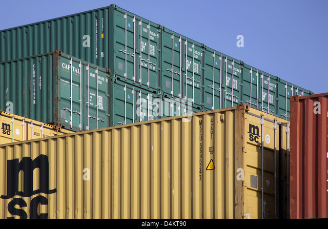 cargo containers at the port of felixstowe on the sussex coast - Stock Image