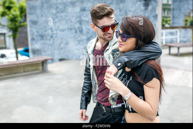 Spain, Gijon, young couple in love - Stock-Bilder