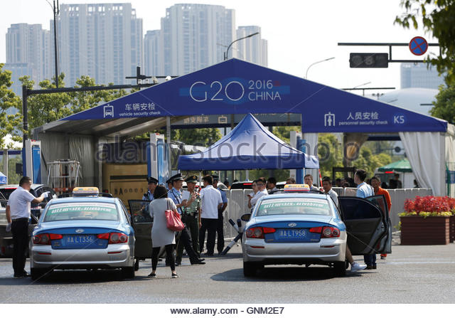 The entrance to a conference centre, where the G20 summit will be held, is pictured before the G20 Summit in Hangzhou, - Stock-Bilder