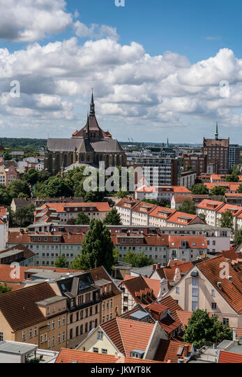 Skyline of Rostock , View from tower of Petri church, background St. Marys church, Marienkirche,  Mecklenburg-Vorpommern, - Stock Image