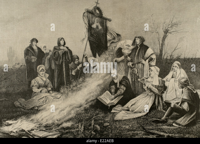 Lollardy. Political and religious movement that existed from the mid.14th century to the English Reformation. Engraving. - Stock Image