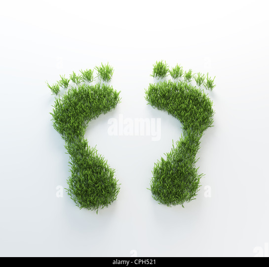 Grass footrpints - environmentla footprint concept - Stock Image