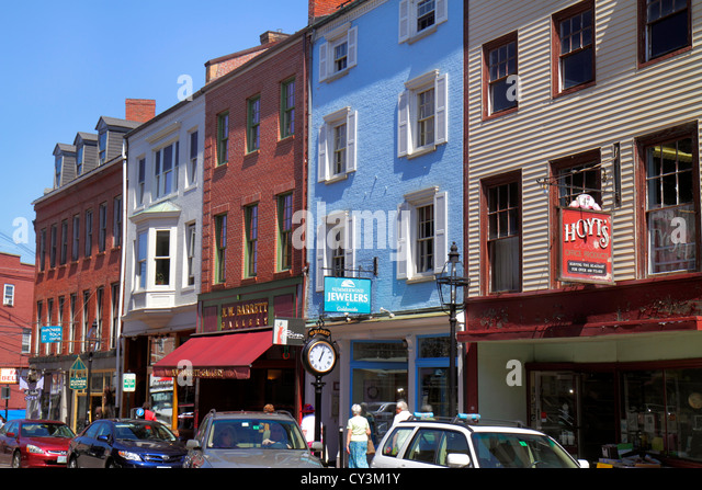 New Hampshire Portsmouth Market Street businesses signs historic buildings - Stock Image
