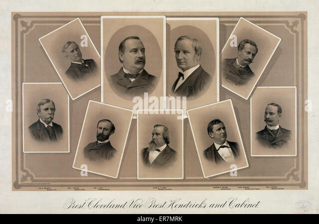 Prest. Cleveland, Vice Prest. Hendricks and cabinet. Date 1885 Jul. 9. - Stock Image