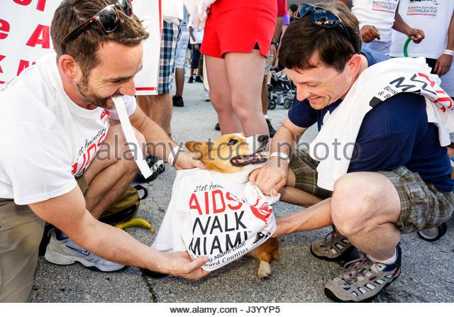 Miami Beach Florida AIDS Walk Miami Care Resource run HIV epidemic community resource benefit fundraiser volunteer - Stock Image