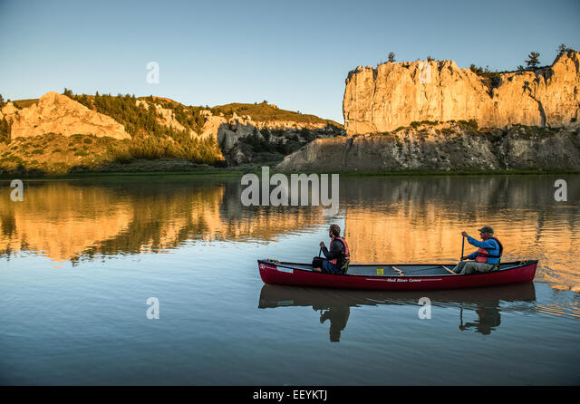 The Upper Missouri River in Montana is one of the premier canoe trips in the Unites States. It is part of the National - Stock Image