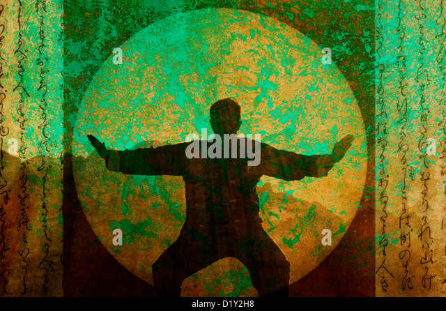 Silhouette of a man practicing Tai Chi in the desert morning. Photo based mixed medium illustration. - Stock-Bilder