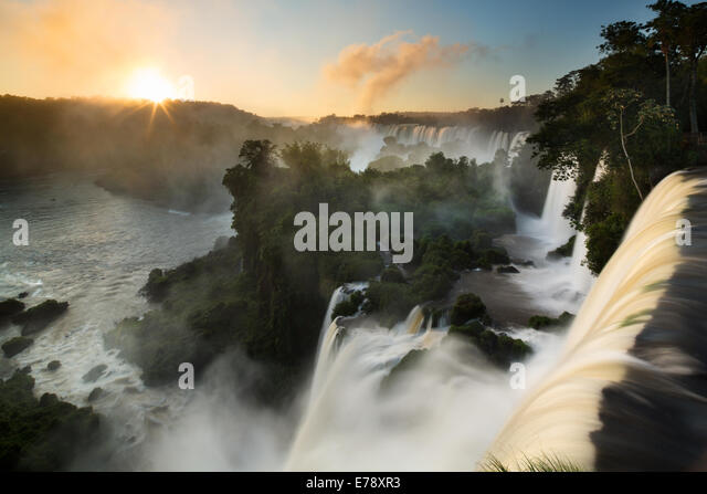 Iguazu Falls at dawn, Argentina - Stock-Bilder