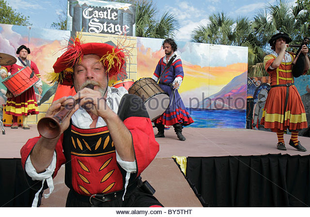 Florida Deerfield Beach Quiet Waters Park Florida Renaissance Festival costume stage performer musician drummers - Stock Image