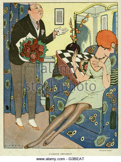 Cartoon, Unrequited love.  A man brings a lady a bouquet of roses, but both he and the flowers are unwelcome.   - Stock Image