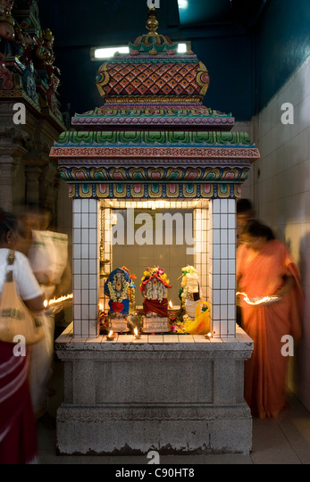 Sri Veerama Kaliamman Temple: The altar of the Nine Planets - Stock Image