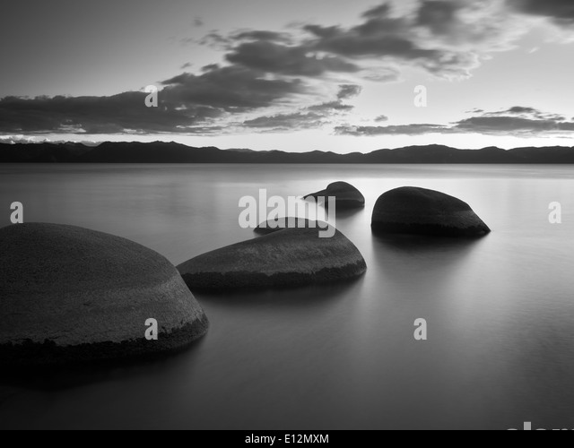 Sunset at Chimney Beach. Lake Tahoe, Nevada - Stock Image