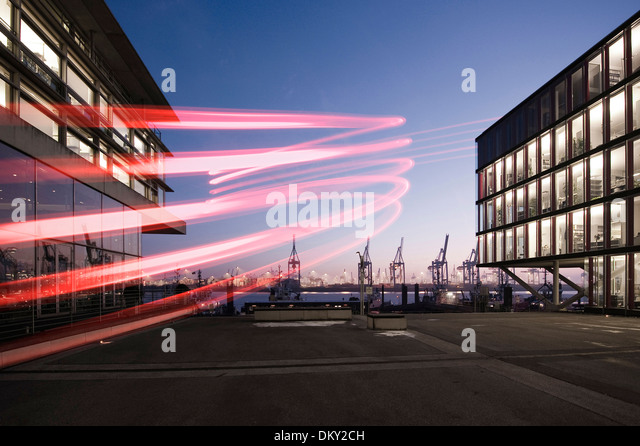 Neumühlen, modern office buildings, harbor cranes in the evening, Hamburg, Germany, Europe - Stock-Bilder