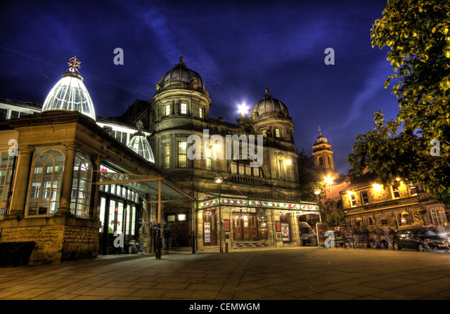 Buxton Victorian Opera House at night, Derbyshire, East Midlands, England, UK - Stock Image