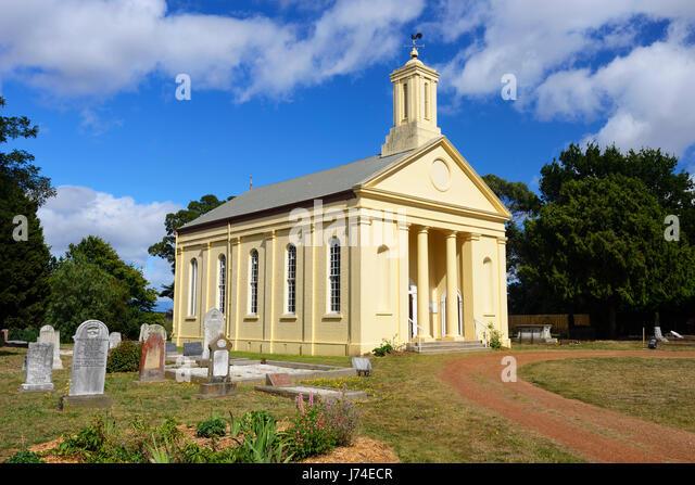 St Andrew's Uniting Church in historic town of Evandale, near Launceston, in Northern Tasmania, Australia - Stock Image