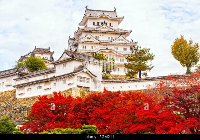Himeji Castle, also called White Heron Castle, in autumn season, Japan. - Stock Image