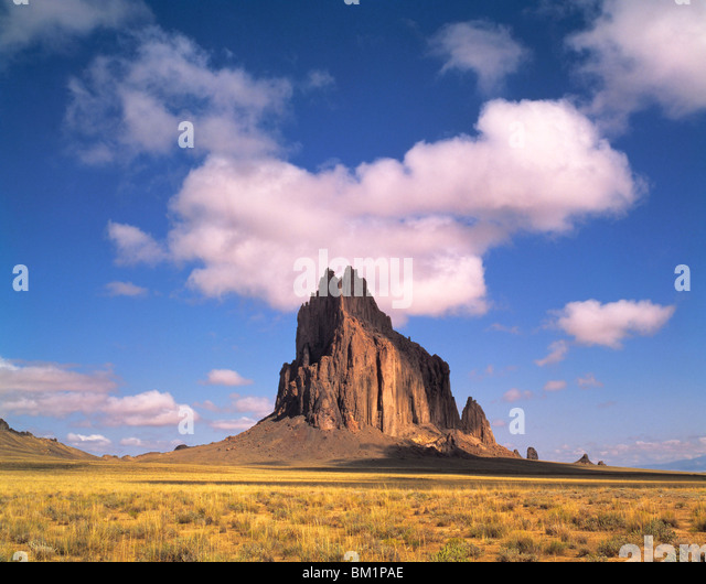 Shiprock and clouds  Navajo Reservation  New Mexico - Stock Image