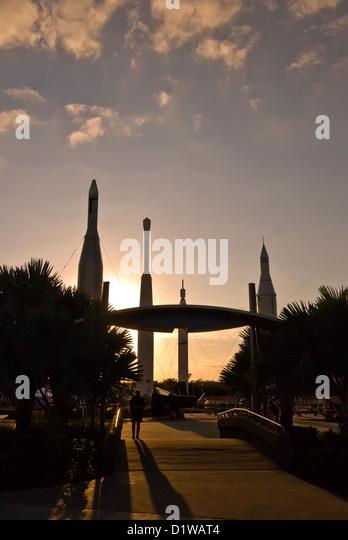 Rocket Garden sunset silhouette Kennedy Space Center Visitor Center, Florida - Stock Image