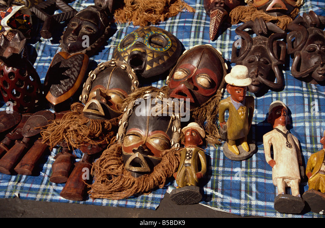Masks Dakar Senegal West Africa Africa - Stock Image