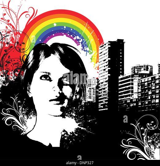 Female face on urban grunge background - Stock Image