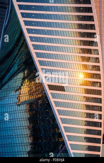 Moscow business center at sunrise - Stock-Bilder