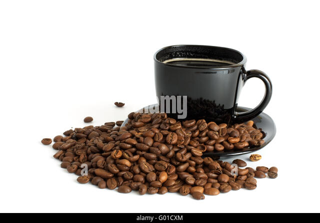 black cup of coffee and coffee beans isolated on white background - Stock Image