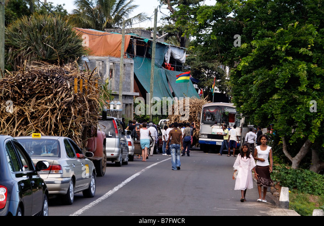 Traffic acident of sugar cane truck with bus on small road in the south Mauritius Africa - Stock Image