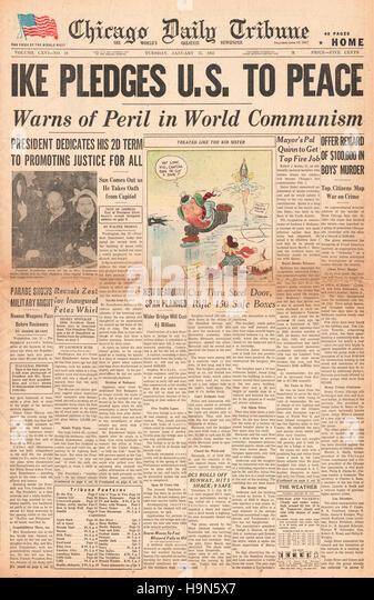 1957 Chicago Daily Tribune (USA) Eisenhower inaugural speech on the peril of world communism - Stock Image